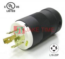 NEMA L16-20P Locking Type Plug, get UL/cUL Approved, 3Ø/4W, 480V AC/20A Current Rating, with PC Body