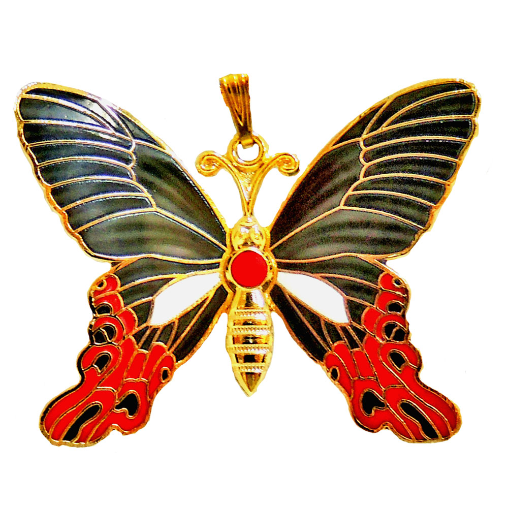 charm necklace | cloisonne butterfly necklace
