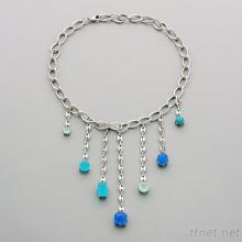 Glass Stone Dangle Necklace N421