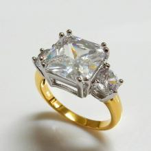 Two Tone Square CZ Engagement Ring