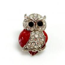 Enamel and Crystal Owl Brooch